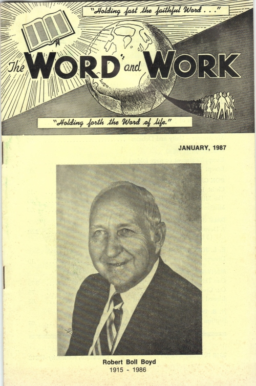 Boyd, Robert B., January 1987 Word and Work front cover